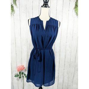 NAKED ZEBRA sleeveless shift dress with waist tie